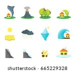 cartoon natural disaster color... | Shutterstock .eps vector #665229328
