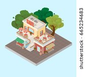 isometric cafe building... | Shutterstock .eps vector #665234683