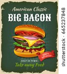 Retro Fast Food Bacon Burger...