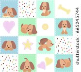 patchwork with puppy. baby...   Shutterstock .eps vector #665245744
