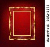 vintage gold picture frame on... | Shutterstock .eps vector #665249998