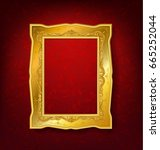 vintage gold picture frame on... | Shutterstock .eps vector #665252044