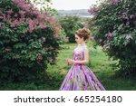 young beautiful caucasian girl... | Shutterstock . vector #665254180