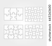 jigsaw puzzle four vector flat... | Shutterstock .eps vector #665263600
