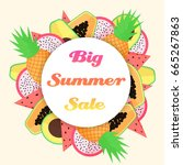 vector tropical fruit big... | Shutterstock .eps vector #665267863