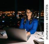 focused young businesswoman... | Shutterstock . vector #665277556