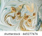 marbled blue  green and golden... | Shutterstock . vector #665277676