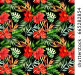 tropical pattern.watercolor | Shutterstock . vector #665282854