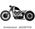 old vintage motorcycle | Shutterstock .eps vector #665287918
