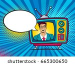 retro tv set with sexy... | Shutterstock .eps vector #665300650