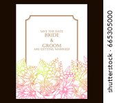 invitation with floral... | Shutterstock .eps vector #665305000