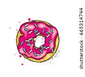 beautiful colorful donut.... | Shutterstock .eps vector #665314744