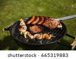 barbecue on a countryside | Shutterstock . vector #665319883