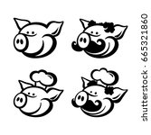 pigs logo and mascot template | Shutterstock .eps vector #665321860