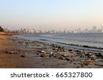 polluted sea front beach in... | Shutterstock . vector #665327800