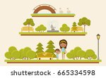 park view panorama with family. ... | Shutterstock .eps vector #665334598