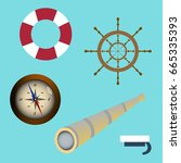 sea icon set spyglass  compass  ... | Shutterstock .eps vector #665335393