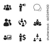 set of 9 editable team icons.... | Shutterstock .eps vector #665349430
