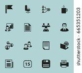 set of 16 editable office icons.... | Shutterstock .eps vector #665351203