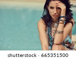 fashion woman on summer... | Shutterstock . vector #665351500