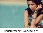 fashion woman on summer... | Shutterstock . vector #665351524