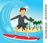 male surfer riding large blue... | Shutterstock .eps vector #665359696