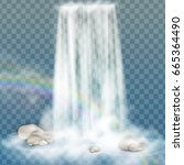 realistic vector waterfall with ... | Shutterstock .eps vector #665364490