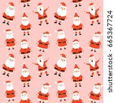 Stock vector cute seamless pattern with santa claus on pink background for merry christmas and happy new year 665367724