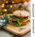 hamburger  christmas concept ... | Shutterstock . vector #665370160