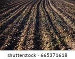 black soil plowed field. earth... | Shutterstock . vector #665371618