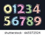set of vector numbers  from 1... | Shutterstock .eps vector #665372524