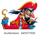 funny pirate character. vector... | Shutterstock .eps vector #665377420