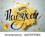 happy new year lettering... | Shutterstock .eps vector #665395084