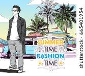 stylish guy on the summer beach ... | Shutterstock .eps vector #665401954