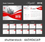 set desk calendar 2018 template ... | Shutterstock .eps vector #665406169