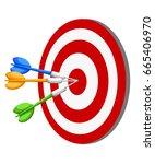 target dart arrow hitting... | Shutterstock .eps vector #665406970