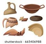 archeology and paleontology... | Shutterstock .eps vector #665406988