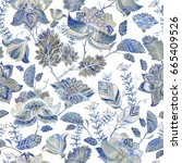 blue floral seamless pattern.... | Shutterstock .eps vector #665409526