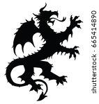 dragon silhouette. editable...   Shutterstock .eps vector #665414890