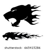wild cat with burning flame... | Shutterstock .eps vector #665415286