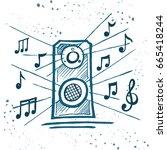 music speakers play music. box... | Shutterstock .eps vector #665418244