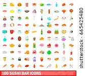 100 sushi bar icons set in... | Shutterstock .eps vector #665425480