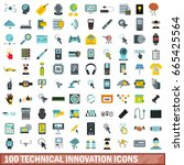 100 technical innovation icons... | Shutterstock .eps vector #665425564