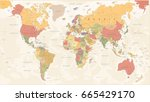 vintage world map   detailed... | Shutterstock .eps vector #665429170
