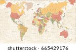 vintage world map   detailed... | Shutterstock .eps vector #665429176