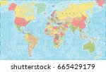 colored world map   detailed... | Shutterstock .eps vector #665429179