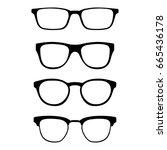 set of glasses isolated on... | Shutterstock .eps vector #665436178