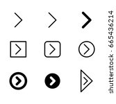 arrow vector icon set in thin... | Shutterstock .eps vector #665436214