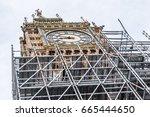 view of big ben in scaffolding | Shutterstock . vector #665444650