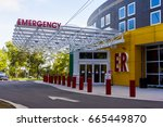hospital emergency entrance... | Shutterstock . vector #665449870